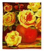 Beautiful Yellow Roses Fleece Blanket