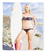 Beautiful Young Blond Surf Woman Fleece Blanket