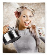 Beautiful Young Retro Woman With Cup Of Coffee Fleece Blanket