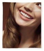 Beautiful Young Smiling Woman Fleece Blanket