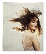 Beautiful Young Woman Fleece Blanket