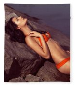 Beautiful Young Woman In Orange Bikini Fleece Blanket