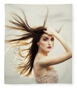 Beautiful Young Woman With Windswept Hair Fleece Blanket
