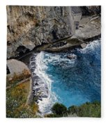Beautifully Carved Out Swimming Deck On The Edge Of The Sea On The Amalfi Coast In Italy  Fleece Blanket