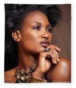 Beauty Portrait Of Black Woman Wearing Jewelry Fleece Blanket