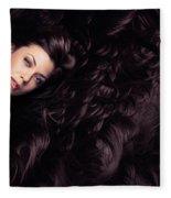 Beauty Portrait Of Woman Surrounded By Long Brown Hair  Fleece Blanket
