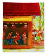 Beautys Cafe With Red Awning Fleece Blanket