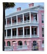 Beauutiful Pink Colonial Style Mansion Fleece Blanket