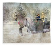 Because I Could Not Stop For Death Fleece Blanket