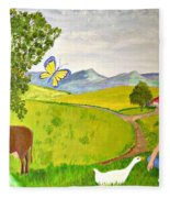 Becky And The Butterfly Fleece Blanket
