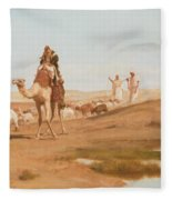 Bedouin In The Desert Fleece Blanket