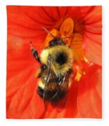 Bee And Nasturtium Fleece Blanket