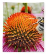 Bee And Pink Flower Fleece Blanket
