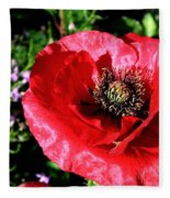 Bee And Red Poppy Fleece Blanket