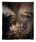 Bee Approaching Red Clover Blossom Fleece Blanket