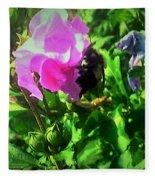 Bee Climbing Into Flower Fleece Blanket