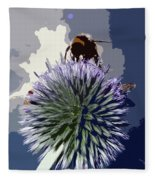Bee On An Allium Fleece Blanket