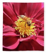 Bee On Beautiful Dahlia Fleece Blanket