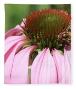 Bee On Echinacea Fleece Blanket