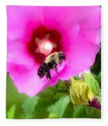 Bee On Edge Of A Hibiscus Flower Fleece Blanket