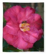 Bee On Pink Camellia Fleece Blanket