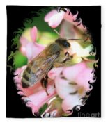 Bee On Pink Flower With Swirly Framing Fleece Blanket