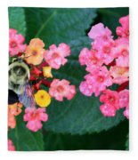 Bee On Rainy Flowers Fleece Blanket
