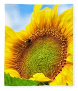 Bee On Sunflower Fleece Blanket