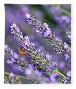 Bee On The Lavender Fleece Blanket