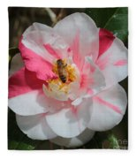 Bee On White And Pink Camellia Fleece Blanket