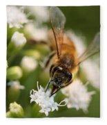 Bee On White Fleece Blanket
