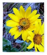 Bee On Wild Sunflowers Fleece Blanket