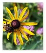 Bee On Yellow Coneflower Fleece Blanket