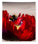 Bee Right Back With Red Flower Fleece Blanket