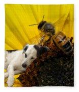 Bee With Dog Fleece Blanket