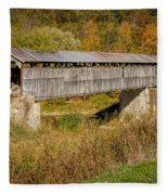 Beech Fork Or Mooresville Covered Bridge Fleece Blanket