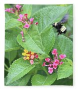 Beeing Amongst The Flowers Fleece Blanket