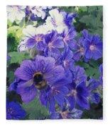 Bees And Flowers Fleece Blanket