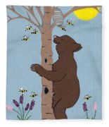 Bees And The Bear Fleece Blanket
