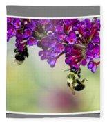 Bees On Butterfly Bush Framed Fleece Blanket