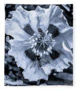 Double Bees On Poppy Bw Fleece Blanket