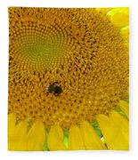 Bees Share A Sunflower Fleece Blanket