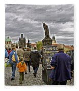 Before The Rain On The Charles Bridge Fleece Blanket