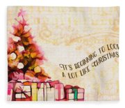 Beginning To Look Like Christmas Card 2017 Fleece Blanket