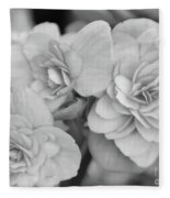 Begonias In Black And White Fleece Blanket
