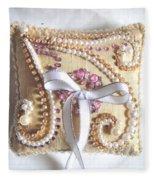 Beige-white Wedding Ring Pillow Fleece Blanket