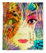 Beijing Opera Girl  Fleece Blanket