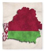 Belarus Map Art With Flag Design Fleece Blanket