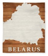 Belarus Rustic Map On Wood Fleece Blanket