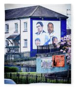 Belfast Mural - Humanitarians - Ireland Fleece Blanket